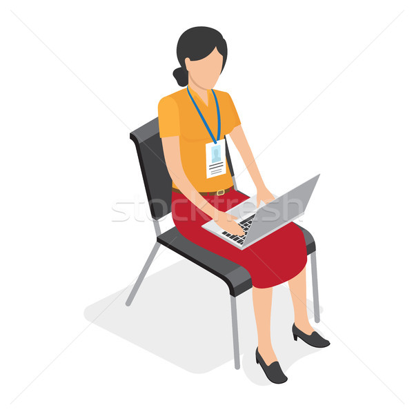 Female with Badge Sitting and Working on Laptop Stock photo © robuart