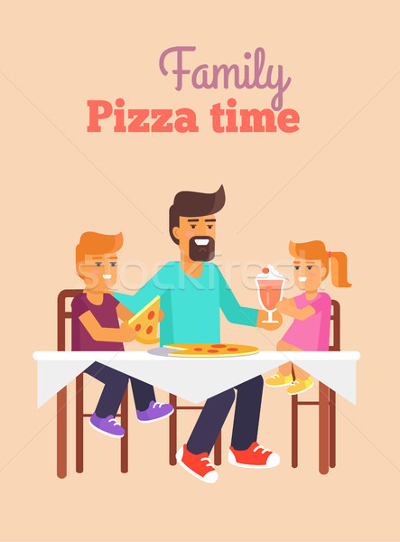 Family Pizza Vector Illustration in Fathers Day Stock photo © robuart