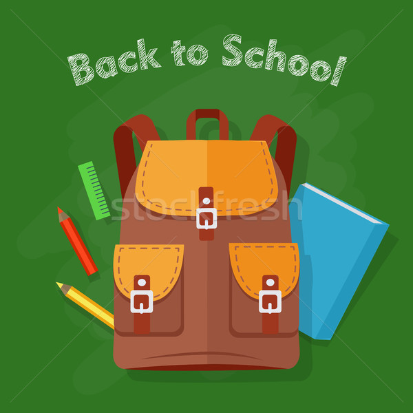 Back to School. Brown Backpack. Office Supplies Stock photo © robuart
