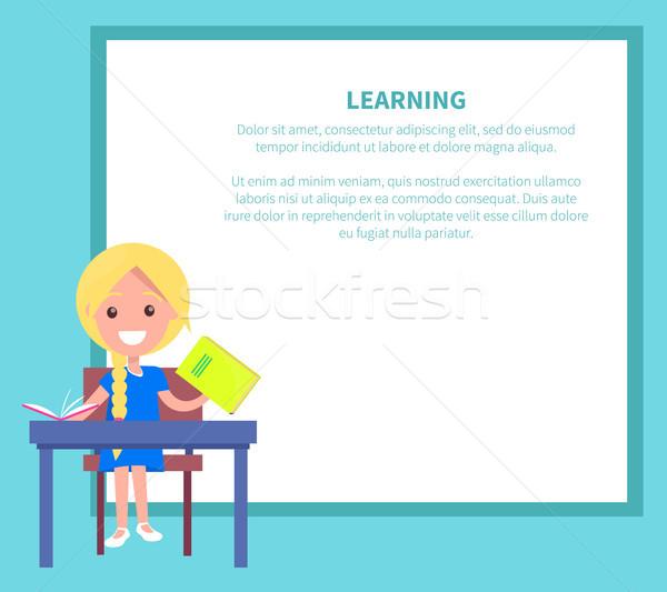 学習 バナー ブロンド 少女 教科書 教科書 ストックフォト © robuart