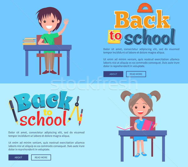 Back to School Poster with Inscription Stationary Stock photo © robuart