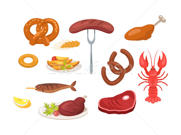 Set of Food and Snack Icons Vector Illustration Stock photo © robuart