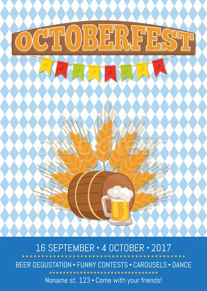 Oktoberfest promóciós poszter vektor kockás háttér Stock fotó © robuart