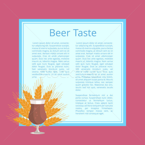 Beer Taste Poster Depicting Glass and Wheat Ears Stock photo © robuart