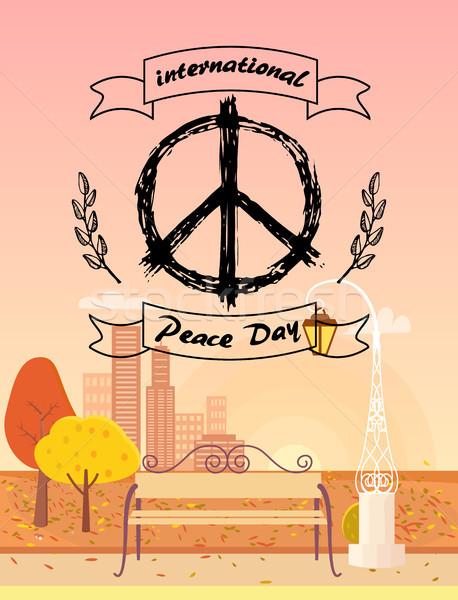 Uluslararası barış gün sonbahar logo hippi Stok fotoğraf © robuart