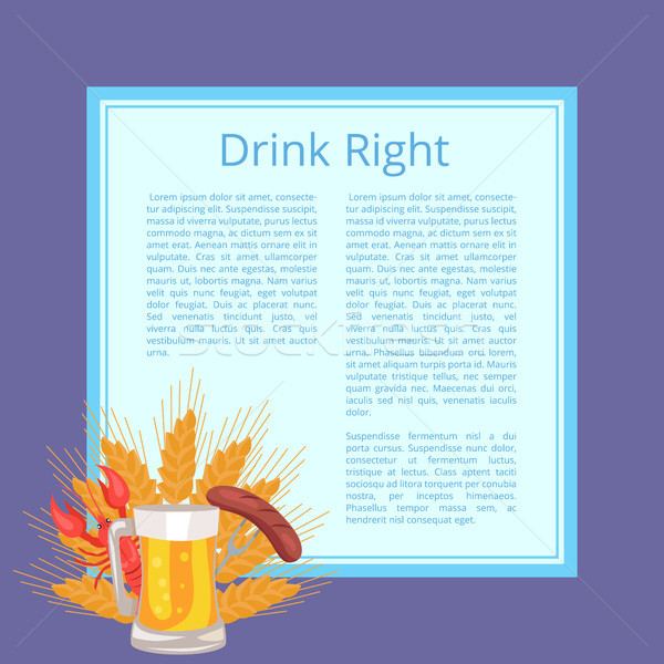 Drink Right Poster Depicting Food and Beverage Stock photo © robuart