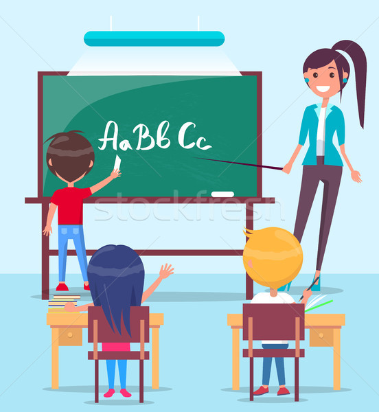Lesson in Classroom Colorful Vector Illustration Stock photo © robuart
