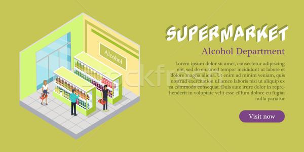 Supermarket Alcohol Department Isometric Banner Stock photo © robuart