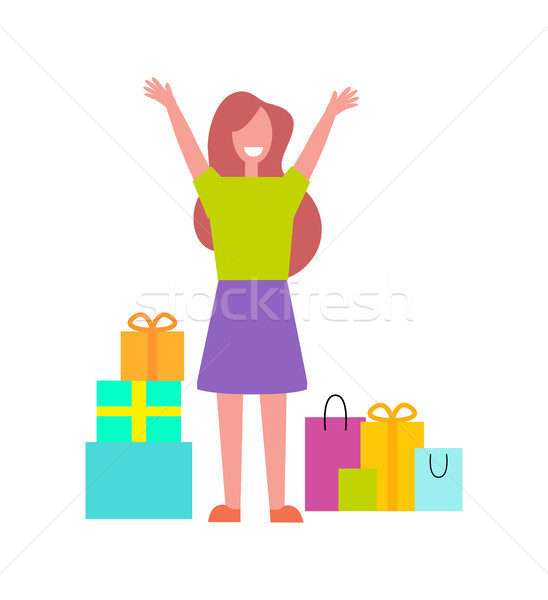 Excited Buyer with Many Bags Vector Illustration Stock photo © robuart
