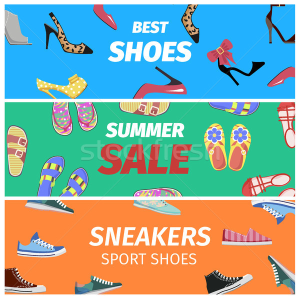 Best Summer Sale of Sneakers Sport Shoes Banners. Stock photo © robuart