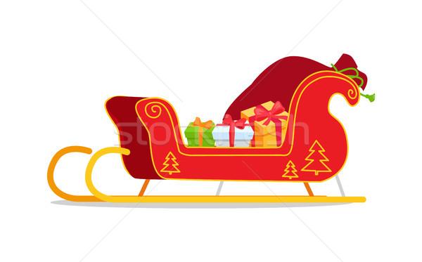 Karácsony szánkó ajándékok izolált fehér piros Stock fotó © robuart