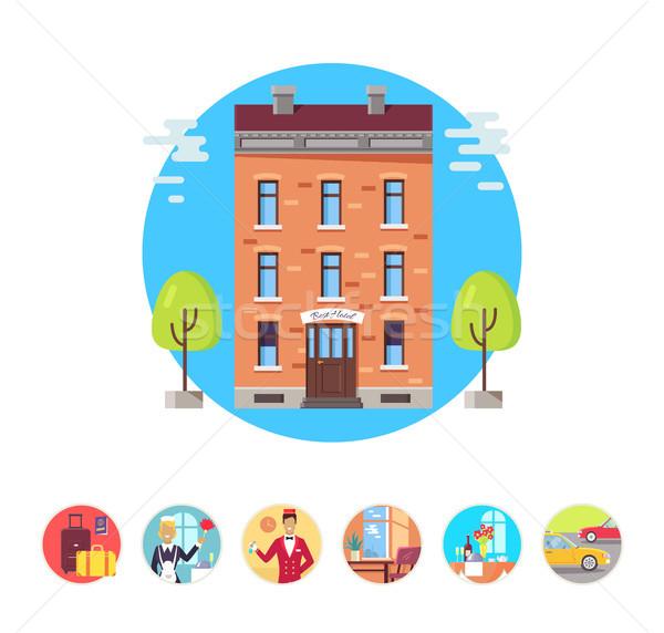 Сток-фото: отель · услугами · иконки · вектора · иллюстрация · экономка