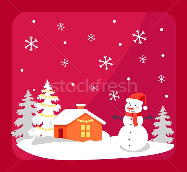 Сток-фото: улыбаясь · снеговик · дома · ярко · красный · Hat
