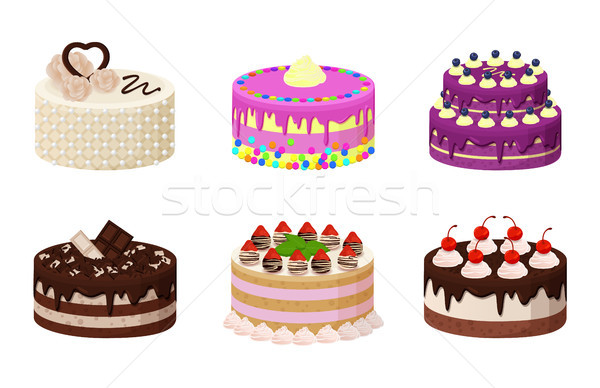 édes pékség gyűjtemény poszter torták krém Stock fotó © robuart