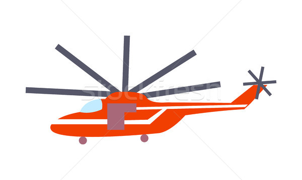 Red Helicopter Isolated on White Vector Poster Stock photo © robuart