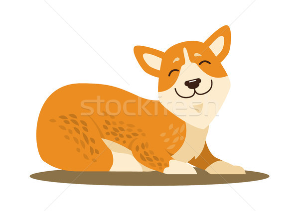 Cute Smiling Corgi Icon Vector Illustration Stock photo © robuart