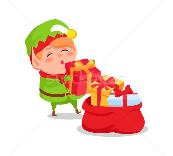 Elfo ajudante natal presentes vermelho Foto stock © robuart