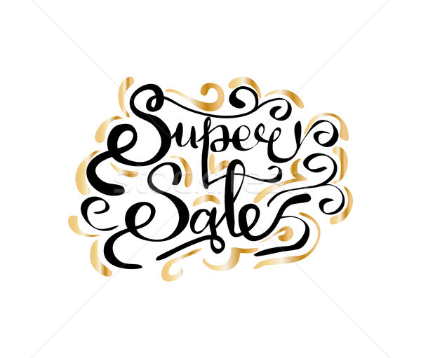 Super Sale Inscription with Golden Curved Elements Stock photo © robuart