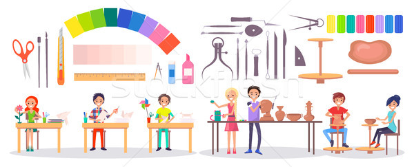 Students, Art Supplies and Stationery Illustration Stock photo © robuart