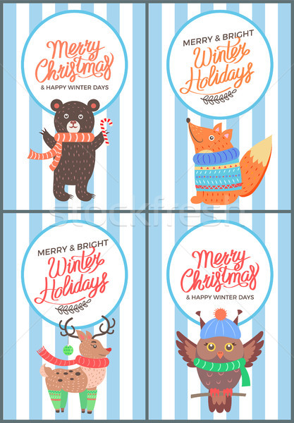 Merry Christmas and Bright Winter Days 70s Card Stock photo © robuart