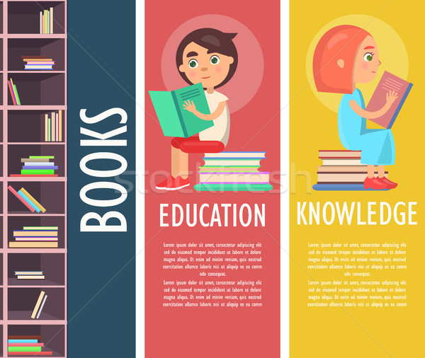 Education, Knowledge and Books in Brown Bookcase Stock photo © robuart