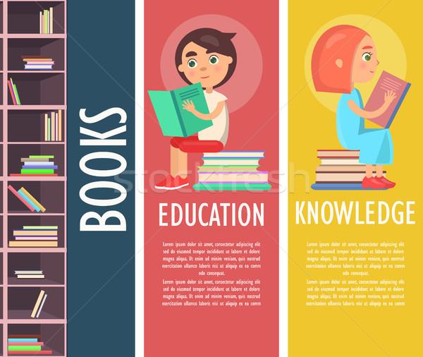 Edukacji wiedzy książek brązowy półka na książki kolor Zdjęcia stock © robuart
