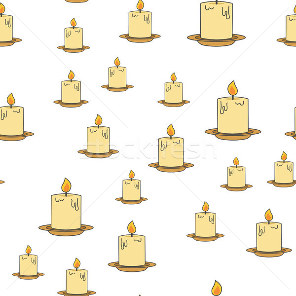Inflamed Candles Vector Seamless Pattern on White Stock photo © robuart