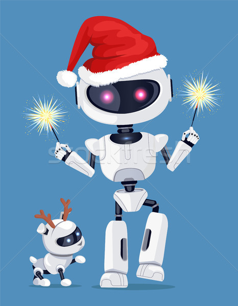 Festive Robot in Red Santa s Hat with Cute Puppy Stock photo © robuart