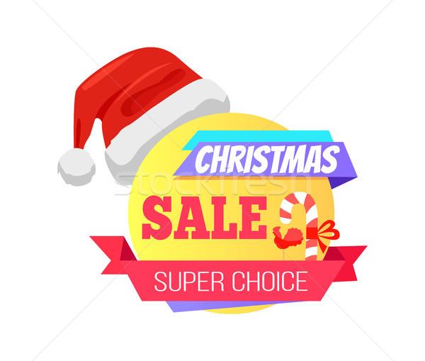 Christmas Super Choice Promo Label with Santa Hat Stock photo © robuart