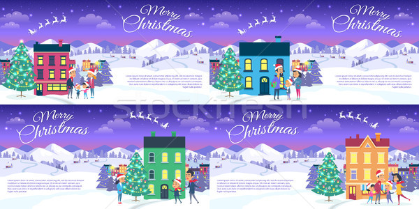 Stok fotoğraf: Neşeli · Noel · şehir · mavi · gökyüzü · ayarlamak · kartpostallar