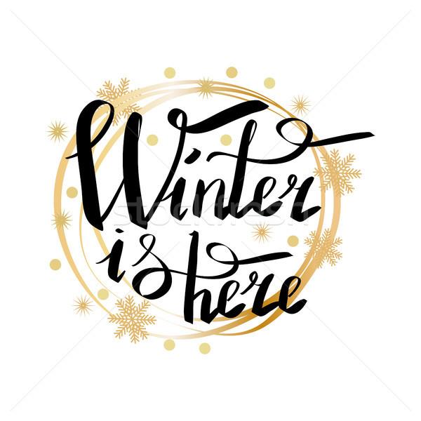 Inverno aqui quadro escrito Foto stock © robuart