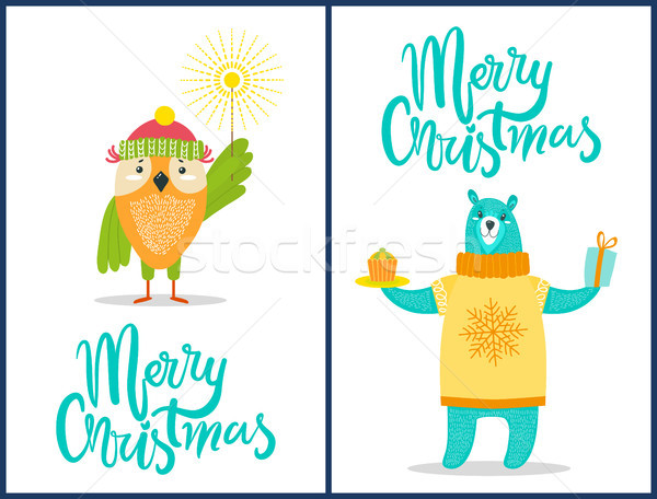 Wesoły christmas dzikie zwierzęta gratulacje gratulacja przedstawia Zdjęcia stock © robuart