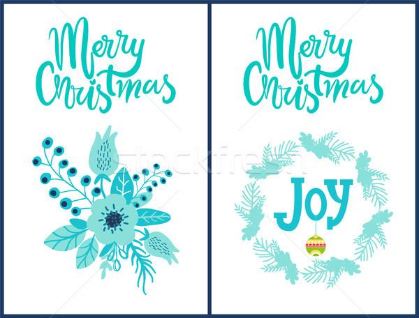 Merry Christmas Stickers Set Vector Illustration Stock photo © robuart
