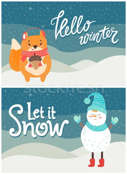 Hello Winter Let it Snow Postcard Snowman Squirrel Stock photo © robuart