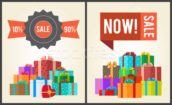 Vásár 10 vegye meg most promo címke ajándékdobozok Stock fotó © robuart