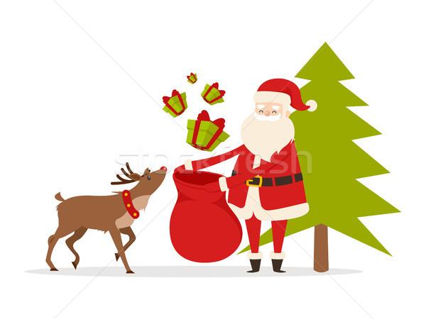 северный олень Рождества подарки детей Сток-фото © robuart