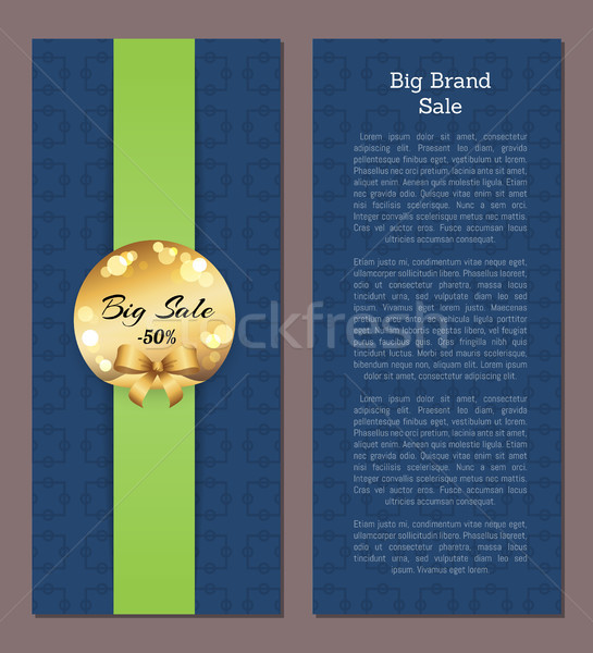 Big Brand Sale Cover Front Back Page Golden Label Stock photo © robuart