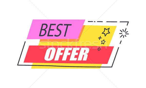 Legjobb ajánlat promo matrica csillagok hirdetés Stock fotó © robuart