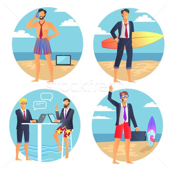 Foto stock: Negócio · verão · empresário · cartaz · mala · pessoas