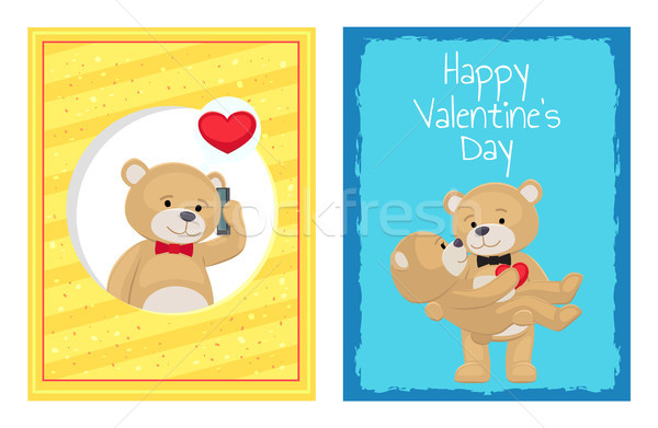 Heureux saint valentin affiches peluche Photo stock © robuart