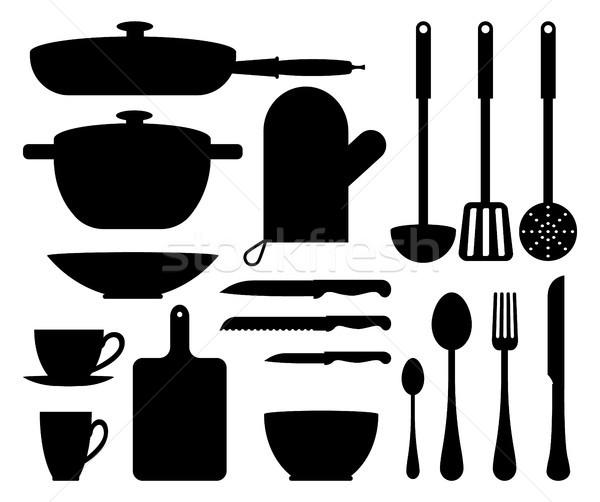 Kitchen Utensil Cute Patterns Vector Illustration Stock photo © robuart