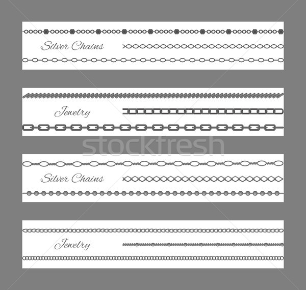 Jewelry and Silver Chains Set Vector Illustration Stock photo © robuart