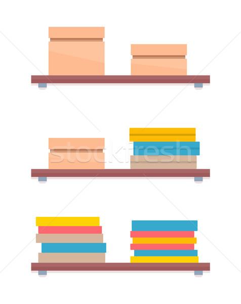 Shelves in Women Shopping Store Boxes with Apparel Stock photo © robuart