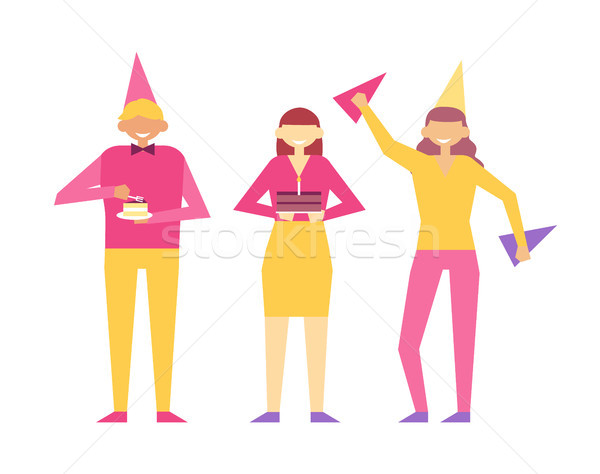 Birthday Party Set of People Having Fun Celebrate Stock photo © robuart