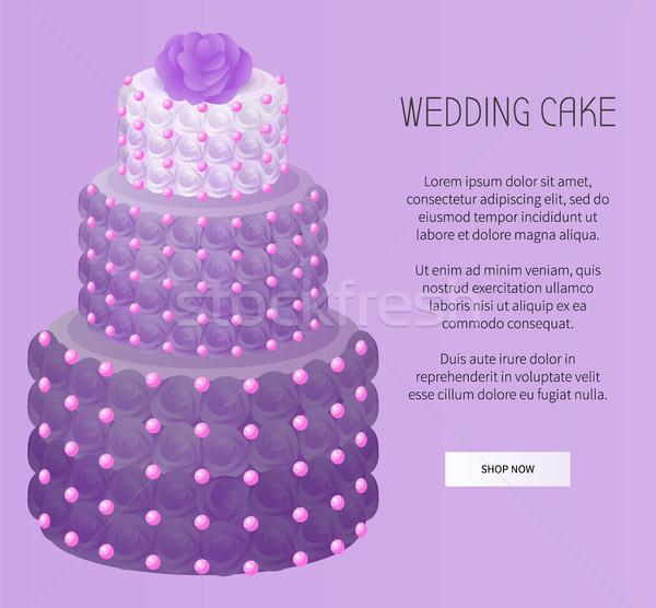 Kek mor renk gül düğün pastası güller Stok fotoğraf © robuart