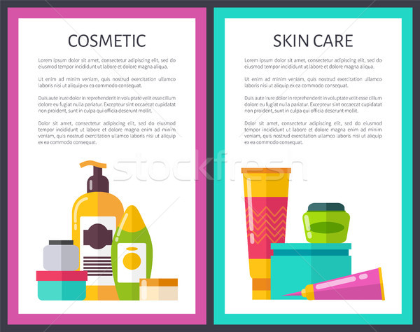 Two Cosmetic Skin Care Posters Cute Glitter Vials Stock photo © robuart