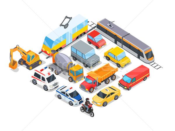 Stock fotó: Szállítás · gyűjtemény · poszter · autók · villamos · vonat
