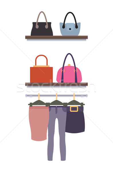 Women Clothing Store Vector Trousers Skirts, Racks Stock photo © robuart
