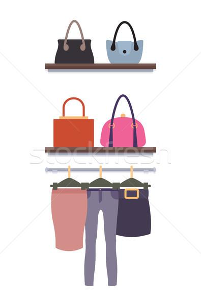 ストックフォト: 女性 · 服 · ストア · ベクトル · ズボン · 女性