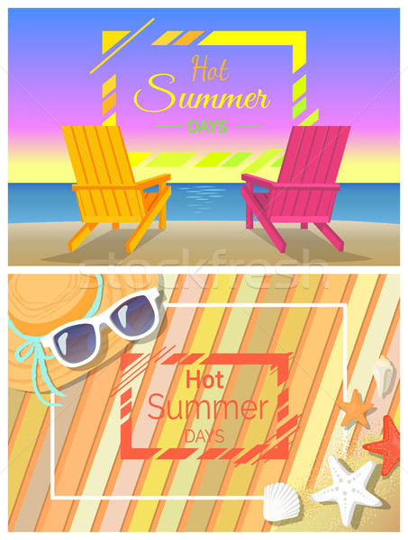 Hot Summer Days Promotional Bright Banners Set Stock photo © robuart
